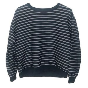 Ann Taylor Loft Striped Blouse Black Long Sleeve